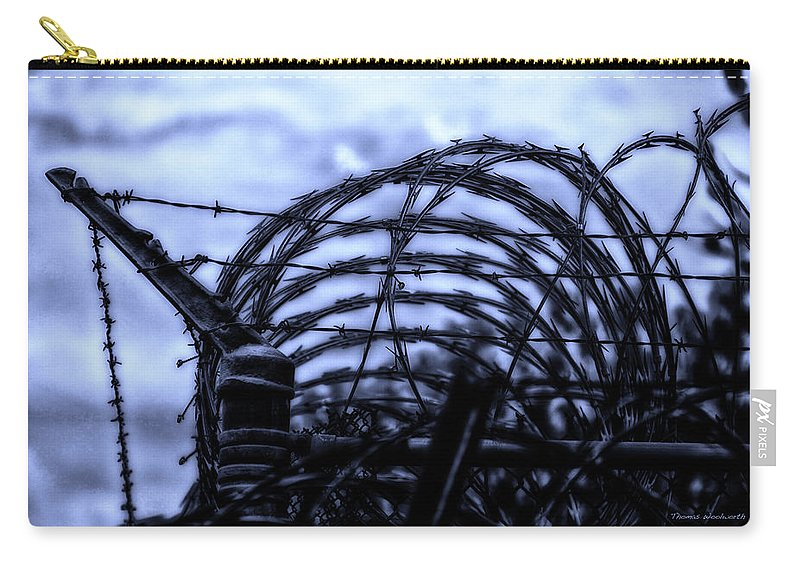 Surrealist Carry-all Pouch featuring the photograph Midnight In The Prison Yard by Thomas Woolworth