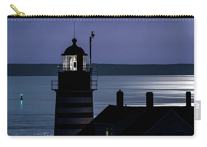 Midnight Moonlight On West Quoddy Head Lighthouse Carry-all Pouch featuring the photograph Midnight Moonlight On West Quoddy Head Lighthouse by Marty Saccone