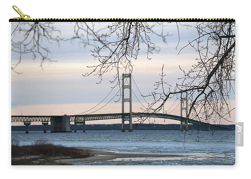 Mackinaw Bridge Carry-all Pouch featuring the photograph Mighty Mac by Linda Kerkau