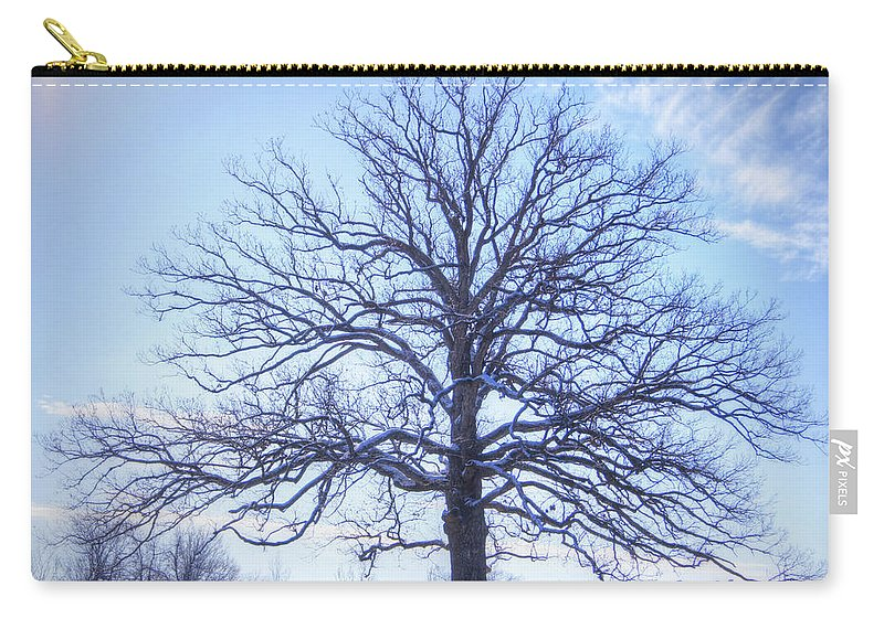 Tree Carry-all Pouch featuring the photograph Mighty Oak In Winter by Cricket Hackmann