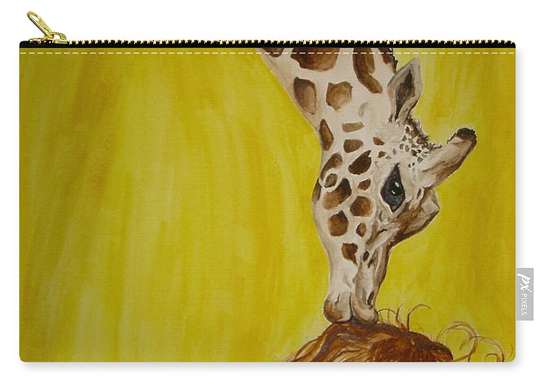 Giraffe Carry-all Pouch featuring the painting Mika And Giraffe by Tamir Barkan