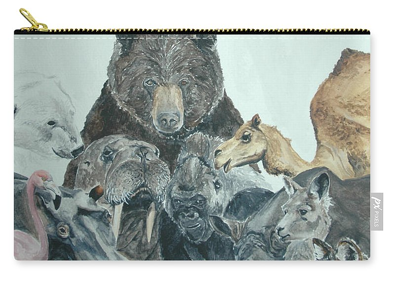 Animals Carry-all Pouch featuring the painting Mika Animals by Tamir Barkan