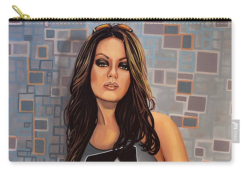 Mila Kunis Carry-all Pouch featuring the painting Mila Kunis by Paul Meijering