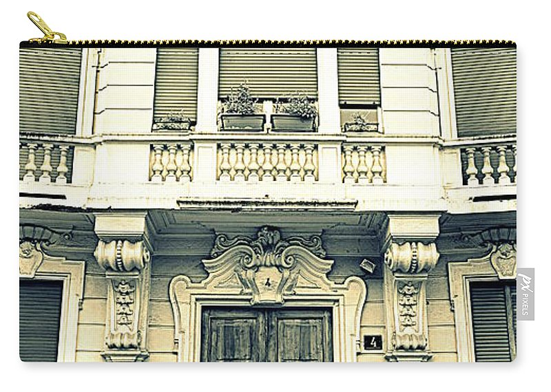 Elegant Carry-all Pouch featuring the photograph Milan Vintage Building by Valentino Visentini