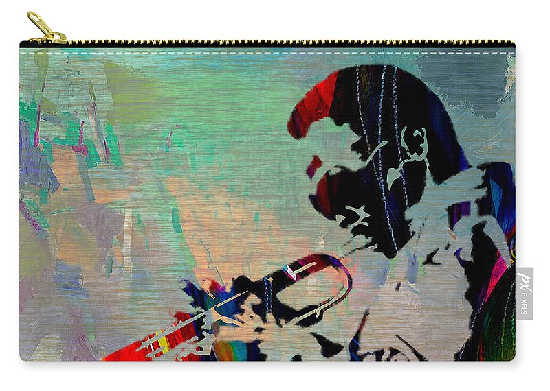 Miles Davis Paintings Carry-all Pouch featuring the mixed media Miles Davis Jazzman by Marvin Blaine