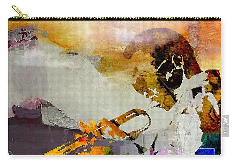 Miles Davis Paintings Carry-all Pouch featuring the mixed media Miles Davis by Marvin Blaine