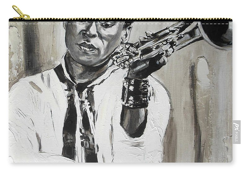 Miles Davis Carry-all Pouch featuring the painting Miles by Lucia Hoogervorst