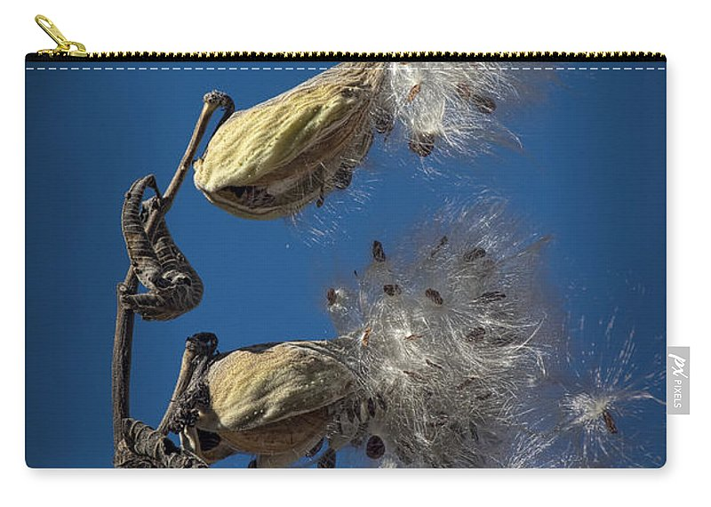 Art Carry-all Pouch featuring the photograph Milkweed Pods On A Blue Background by Randall Nyhof
