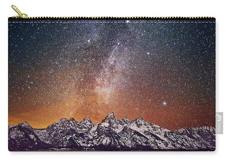 Tranquility Carry-all Pouch featuring the photograph Milky Way Over Grand Teton by Chen Su