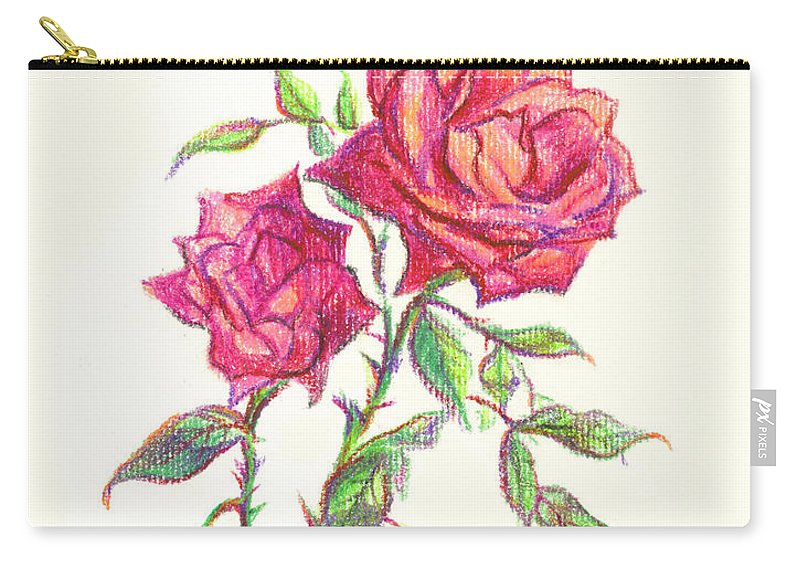 Nature Carry-all Pouch featuring the painting Minature Red Rose by Kip DeVore