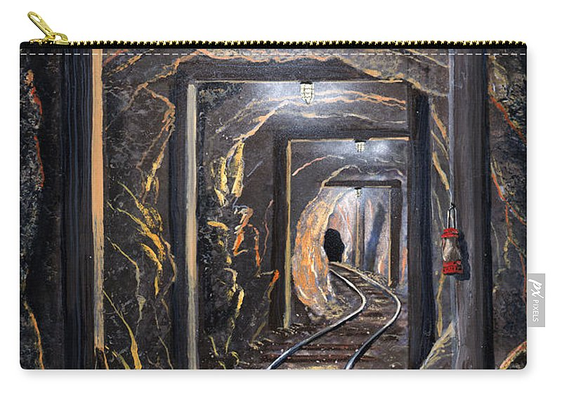 Mural Carry-all Pouch featuring the painting Mine Shaft Mural by Frank Wilson