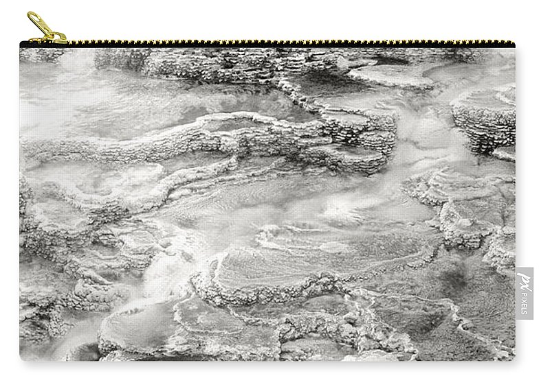 America Carry-all Pouch featuring the photograph Minerva Springs In Black And White Yellowstone National Park Wyoming by Dave Welling