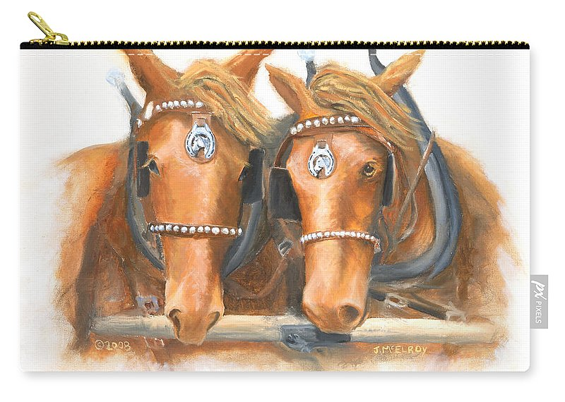 Horse Carry-all Pouch featuring the painting Mini And Jake by Jerry McElroy