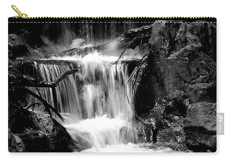 Waterfall Carry-all Pouch featuring the photograph Mini Falls Black And White by Deena Stoddard