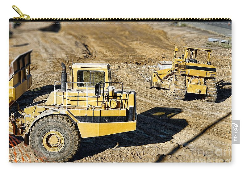 Bulldozer Carry-all Pouch featuring the photograph Miniature Construction Site by Olivier Le Queinec
