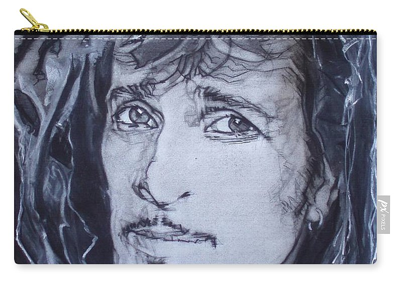 Charcoal;mink Deville;new York City;gina Lollabrigida Eyes ;cat Eyes;bullfight;toreador;swords;death;smoke;blues Carry-all Pouch featuring the drawing Willy Deville - Coup De Grace by Sean Connolly