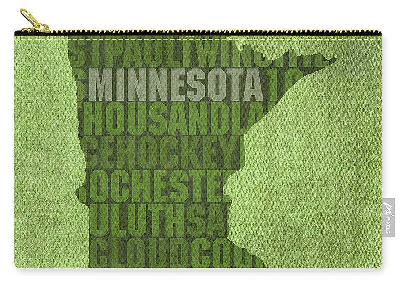 Minnesota Word Art State Map On Canvas Carry-all Pouch featuring the mixed media Minnesota Word Art State Map On Canvas by Design Turnpike