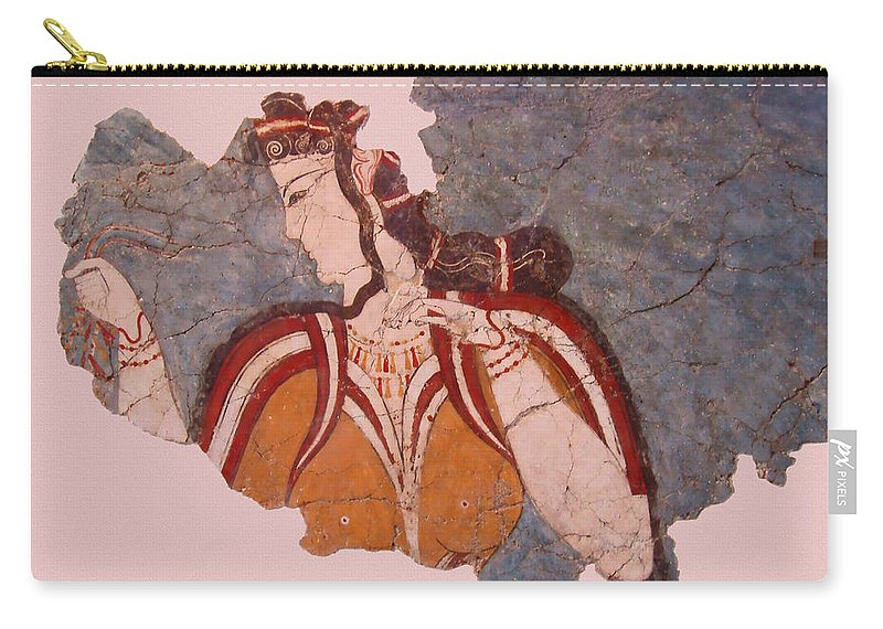 Minoan Wall Painting Carry-all Pouch featuring the photograph Minoan Wall Painting by Ellen Henneke