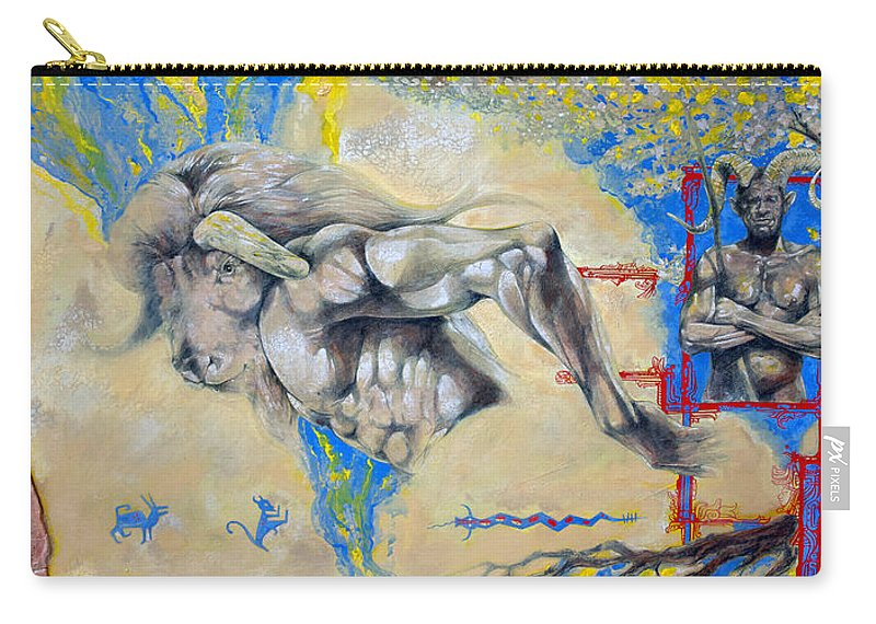 Minotaur Carry-all Pouch featuring the painting Minotaur by Derrick Higgins