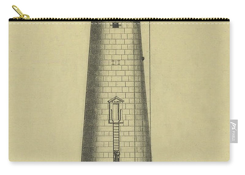 Minot's Ledge Lighthouse Carry-all Pouch featuring the drawing Minot's Ledge Lighthouse by Jerry McElroy