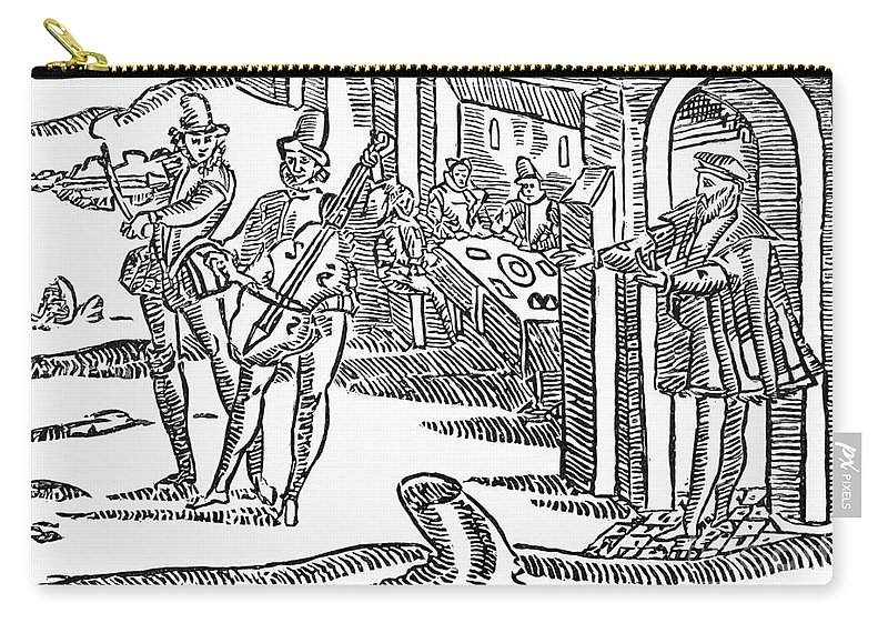 17th Century Carry-all Pouch featuring the photograph Minstrels, 17th Century by Granger