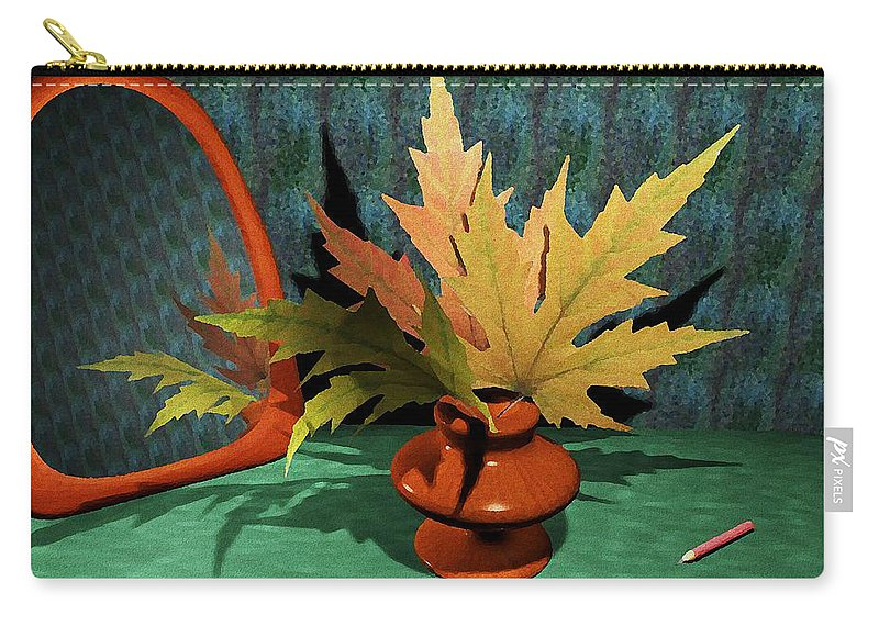 Computer Carry-all Pouch featuring the painting Mirror And Leaves by Anastasiya Malakhova