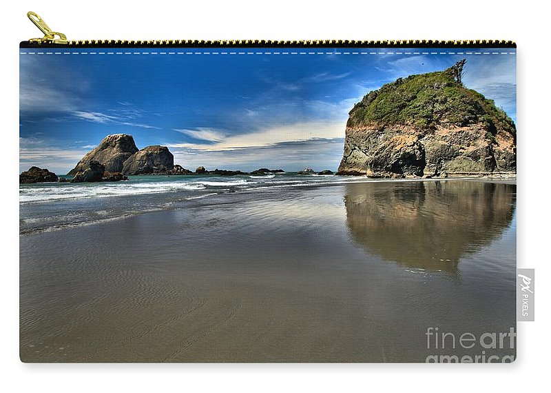 Trinidad California Carry-all Pouch featuring the photograph Mirror In The Sand by Adam Jewell