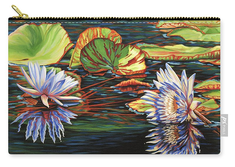 Lily Lilies Water Pond Pad Flower Flowers Floral Lake Carry-all Pouch featuring the painting Mirrored Lilies by Jane Girardot
