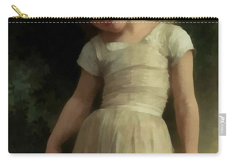 William Bouguereau Carry-all Pouch featuring the digital art Mischievous One by William Bouguereau