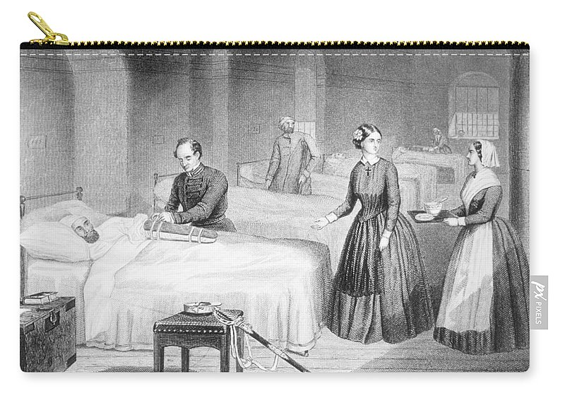 Print Carry-all Pouch featuring the drawing Miss Nightingale In The Hospital by Robert Neal Hind