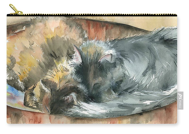 Cats Carry-all Pouch featuring the painting Miss Sam And Miss Marcia by Judith Rice