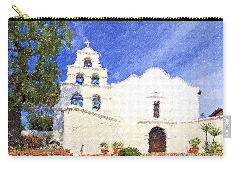Mission Basilica San Diego De Alcala Carry-all Pouch featuring the digital art Mission Basilica San Diego De Alcala Usa by Liz Leyden