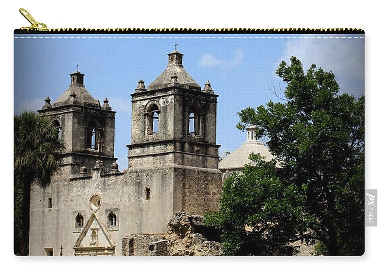Mission Concepcion Carry-all Pouch featuring the photograph Mission Concepcion - Church by Beth Vincent