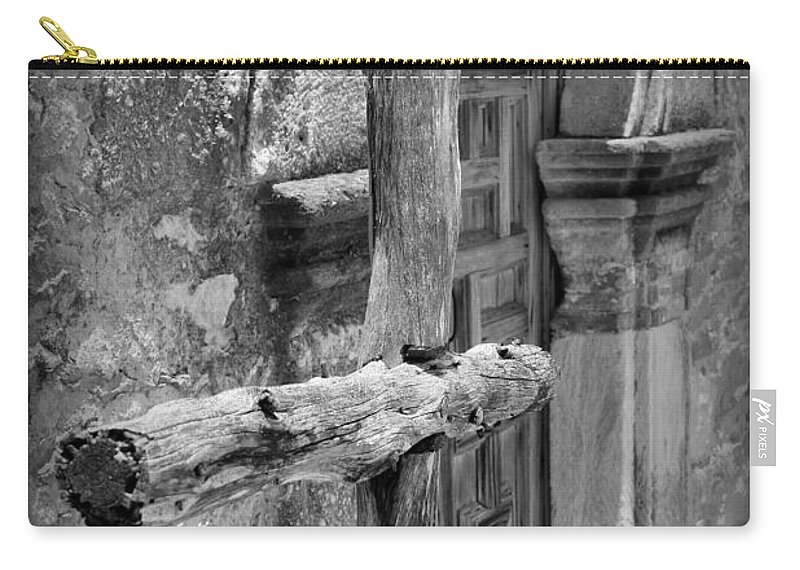 Mission Carry-all Pouch featuring the photograph Mission Espada - Wooden Cross - Bw by Beth Vincent