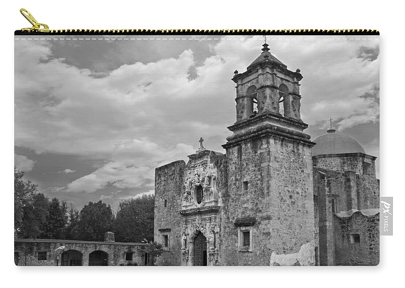 Mission San Jose Bw Carry-all Pouch featuring the photograph Mission San Jose Bw by Jemmy Archer