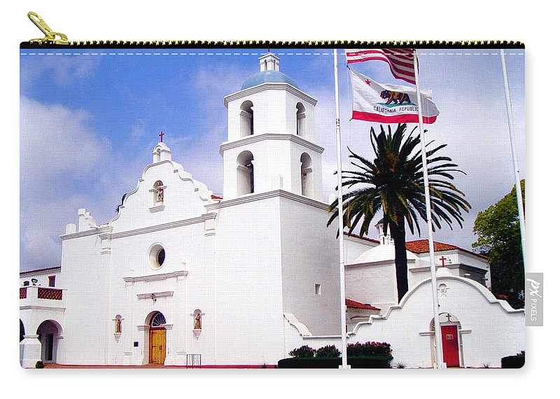 Mission Carry-all Pouch featuring the photograph Mission San Luis Rey by Jerome Stumphauzer