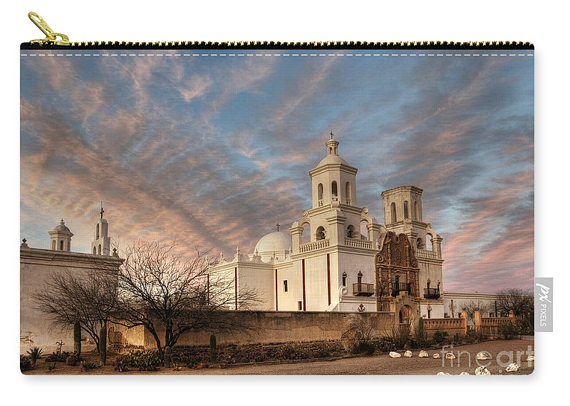 Mission San Xavier Del Bac Carry-all Pouch featuring the photograph Mission San Xavier Del Bac by Vivian Christopher