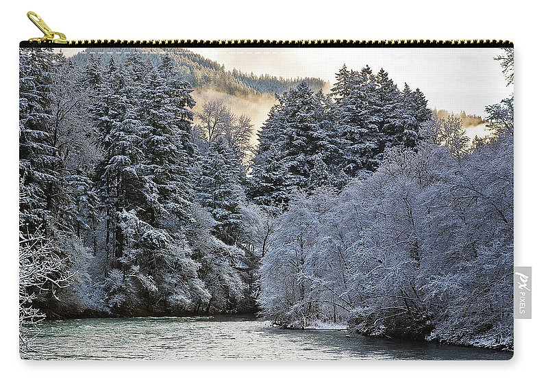 Winter Carry-all Pouch featuring the photograph Mist And Snow On Trees by Belinda Greb