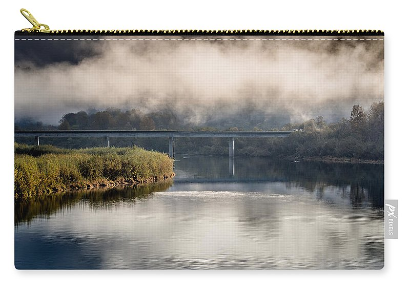 Fog Carry-all Pouch featuring the photograph Mists And Bridge Over Klamath by Greg Nyquist