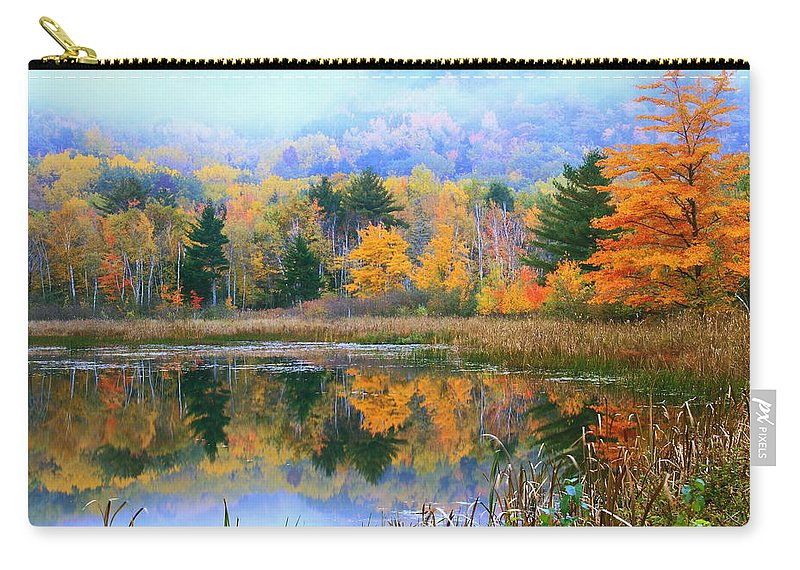 Misty Carry-all Pouch featuring the photograph Misty Autumn Pond by Roupen Baker