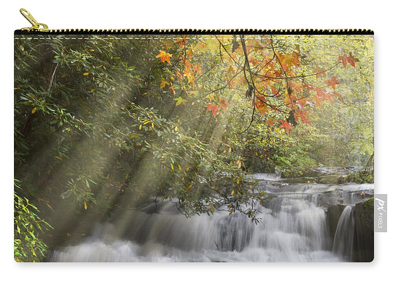 Appalachia Carry-all Pouch featuring the photograph Misty Falls At Coker Creek by Debra and Dave Vanderlaan
