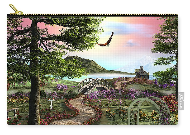 Art Licensing Carry-all Pouch featuring the mixed media Misty Meadow by Caplyn Dor