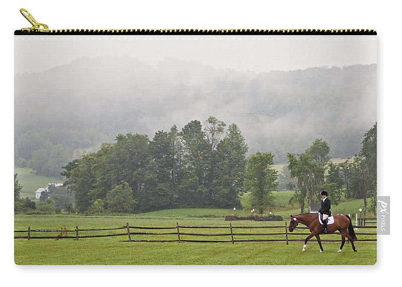 Dressage Carry-all Pouch featuring the photograph Misty Morning Ride by Joan Davis