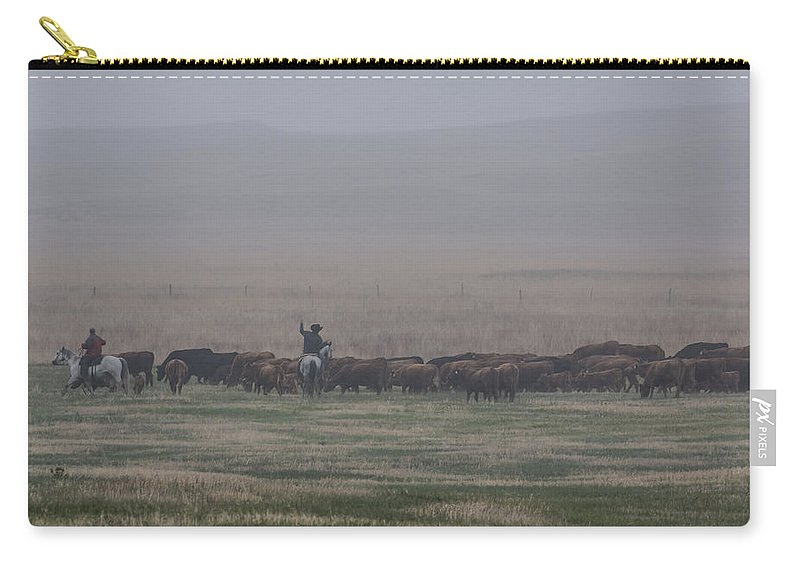 Horse Carry-all Pouch featuring the photograph Misty Morning Roundup by Steven Clair