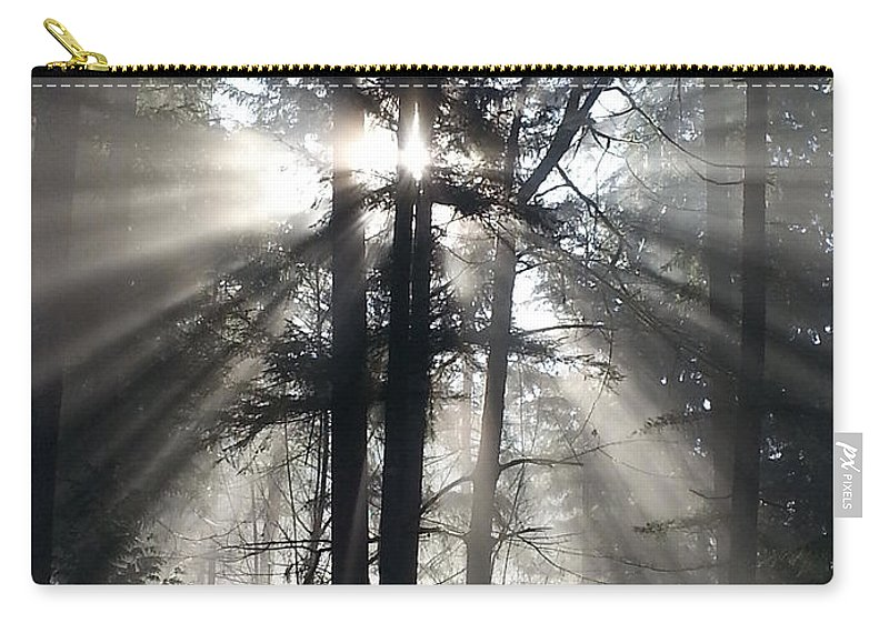 Sunrise Carry-all Pouch featuring the photograph Misty Morning Sunrise by Crista Forest