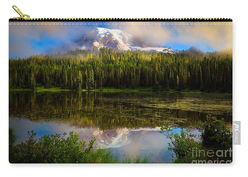 America Carry-all Pouch featuring the photograph Misty Reflection by Inge Johnsson