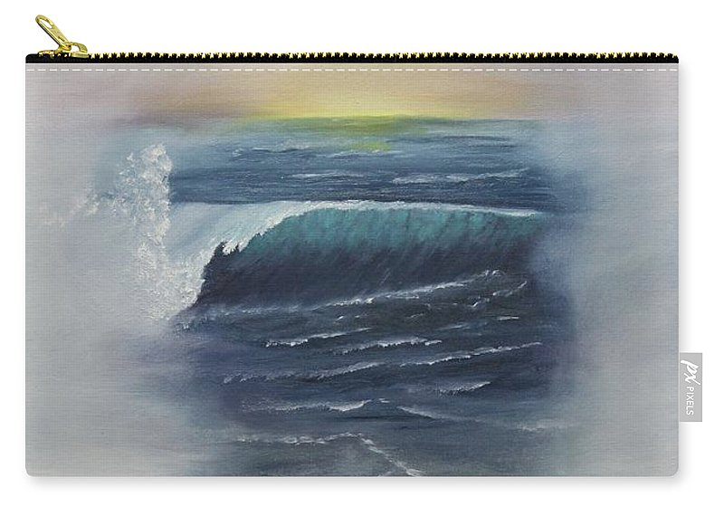 Seascape Carry-all Pouch featuring the painting Misty Sun Set by Lou Magoncia