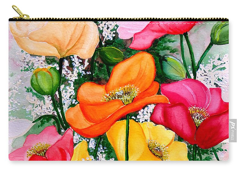 Poppies Carry-all Pouch featuring the painting Mixed Poppies by Karin Dawn Kelshall- Best
