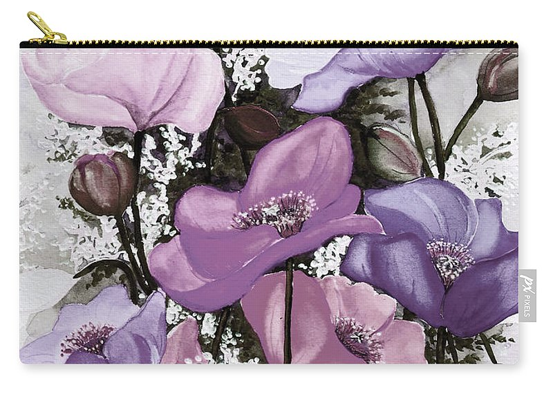 Purple Carry-all Pouch featuring the painting Mixed Poppies Purple by Karin Dawn Kelshall- Best