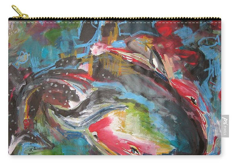 Whale Paintings Carry-all Pouch featuring the painting Mobie Joe The Whale-original Abstract Whale Painting Acrylic Blue Red Green by Seon-Jeong Kim